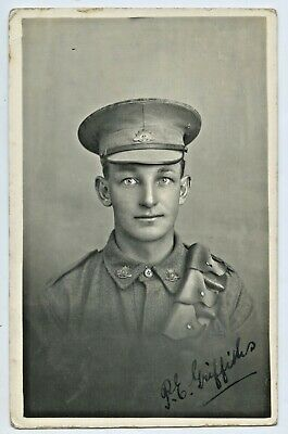 WW1 RP POSTCARD AIF PERCY E GRIFFITHS NO. 28380 7th REINF 12th ARTILLERY BGE G95