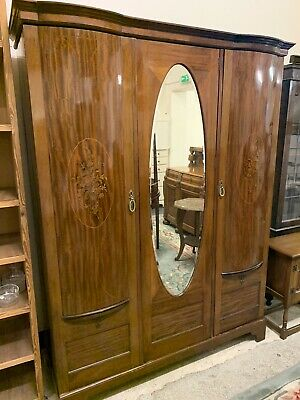 Antique Maple & Co Edw Inlaid Mahogany Triple Wardrobe.Delivery Available