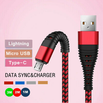 Heavy Duty Metal Braided IOS Micro USB Charger Cable 1M 2M 3M For Samsung S8