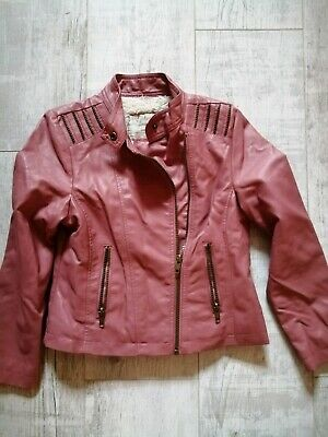 MATALAN Girls Faux LEATHER Biker JACKET 8-9 Years SALMON PINK Fur Lined ZIPS