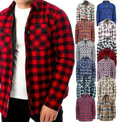 Mens Flannel Quilted Lined Fleece Padded Work Shirt Yarn Dyed Lumberjack Jacket