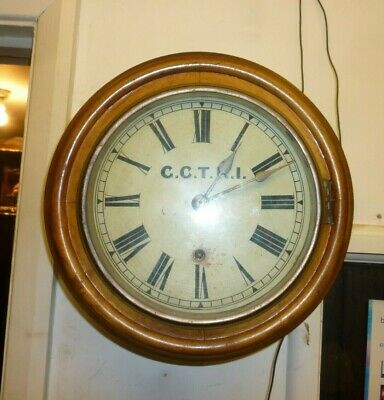 Rare Miniature 8ins Dial 8 Day Station Or School Clock Good Working Order