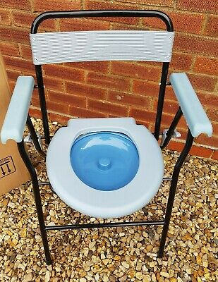 Aidapt Portable Folding Commode Chair Toilet with Armrests