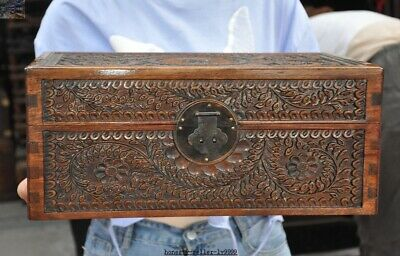 China Boxwood wood carved Plum blossom flower Ancient Jewelry storage Box Boxes