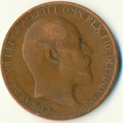 1907 Half Penny Of Edward Vii. / Collectible Coin    #Wt7490