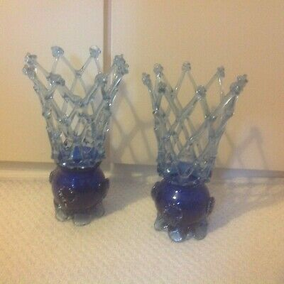 pair of blue Vintage Murano Art Glass,Large Vase,Lattice ,Hand Blown,26cm tall