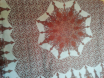 NM53) Retro handmade India imperfect tablecloth Large brown & white pattern NEW
