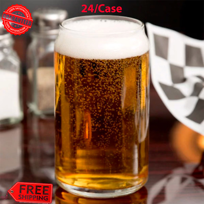 (24/Case) Novelty BEER CAN GLASS Clear Round 16 oz. Restaurant Bar Drinkware