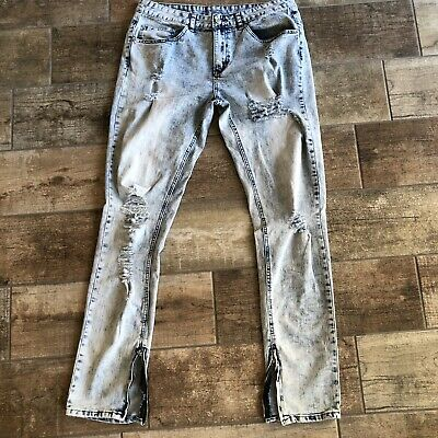 Young & Reckless Mens Distressed Ankle Zip Skinny Ripped Jeans Sz 34 Bleach Blue