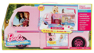 Barbie Dream Camper Playset Fully Furnished, Pink, Camping RV VAN NIB