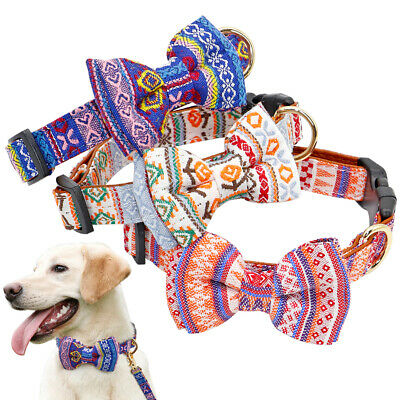 Bowtie Cat Dog Collar PU Leather Padded Adjustable for Small Large Dogs Pug SML