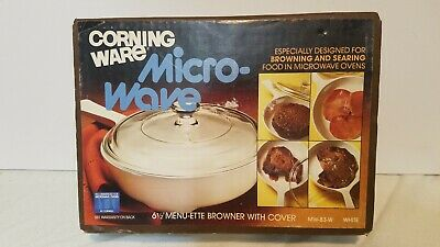"Vintage Corning Ware Menu-Ette Browning Skillet 6 1/2"" Petite Pan + Cover NEW"