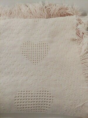 Pink knit heart throw afghan Baby crib Blanket fringe hearts grid squares FADED