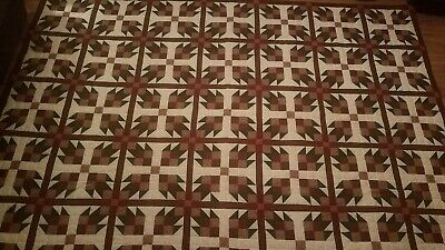 Rose Buds Hand Stitched Quilt 82 x 114 Cotton Queen 1999 Quilt Show Signed