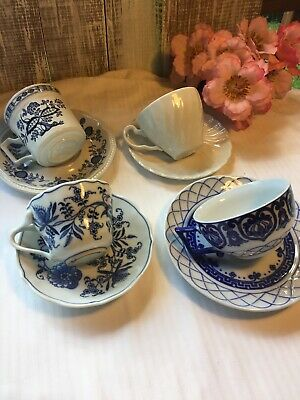 4 -  Vintage Mismatched China Blue And White Tea cup & Saucer Sets Shabby #33