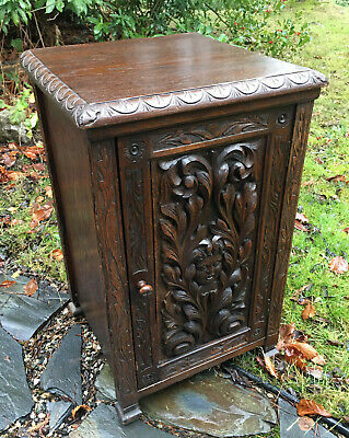 Antique English Victorian Carved Oak Cabinet Night Stand Gothic