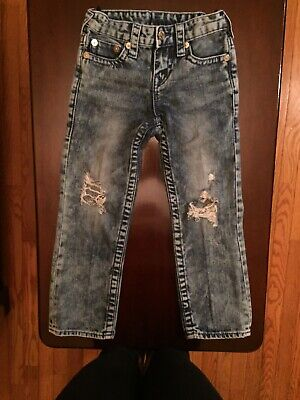 True Religion Boys Blue Jeans Size 6 Adjusted, Ripped Straight Distressed