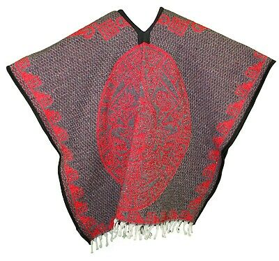 HEAVY BLANKET Mexican PONCHO TRIBAL 6 Tan/Red ONE SIZE FITS ALL Blanket Gaban