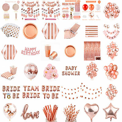 Rose Gold Party Decorations Supplies Balloon Kit Disposable Tableware Banner