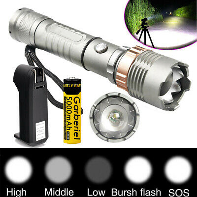 Tactical 900000Lumen 5 Modes ZOOM T6 LED Flashlight +18650 Battery & Charger USA