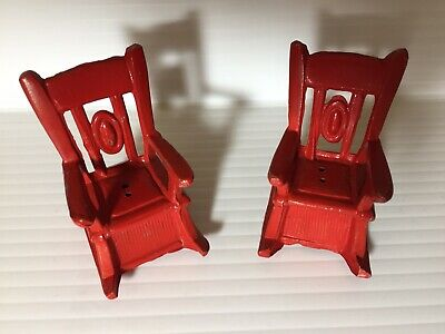 Vintage Pair of Matching Cast Iron Rocking Chair Salt and Pepper Shakers Red