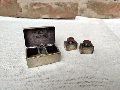 Vintage 2 Compartments Brass Inkwell Antique Ink Pot Japan 1920s