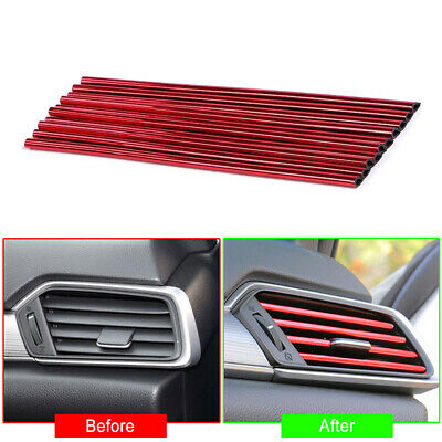 10x 20cm Red Air Conditioner Air Outlet Decoration Bright Strip Car Accessories