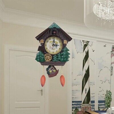 Vintage Bird Pendulum Hanging Cuckoo Wall Clock Fashion Living Room Decor UK