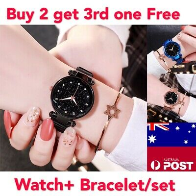 Fashion Women Starry Sky Watch Bracelet Set Dress Watches Magnetic Band Digital