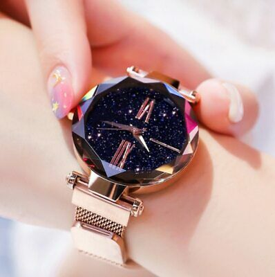 Women Watch Luxury Rose Gold Starry Sky Magnetic Fashion Casual Female Wrist