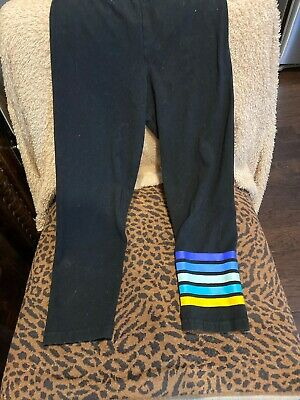 Old Navy Short Crop Leggings Black with stripes Girls M 8