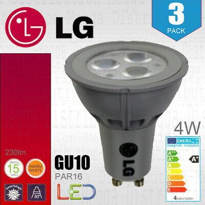4 x Energizer GU10 LED Light Bulb 350lm Spot 5W=50W Warm White 3000k 36°