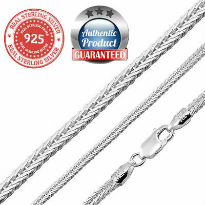 925 Sterling Silver real Italian Silver solid foxtail wheat rope chain Necklace