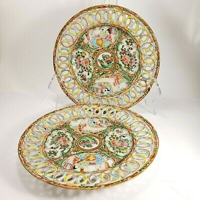 2 Antique Chinese Famille Rose Medallion Reticulated Pierced Porcelain Plates