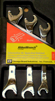 Alden Wrench 56039 Double Head Ratching Open-End Wrench 3 Piece Set Metric