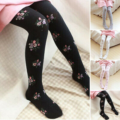 Kids Girls Stretchy Winter Leggings Cotton Warm Trousers Floral Slim Fit Pants