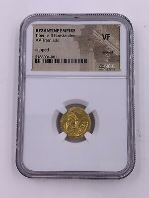 Byzantine Empire Tiberius II Constantine AV Tremissis Gold VG NGC Ancient