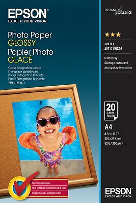 Epson Glossy Photo Paper, A4 Size Sheets, 200gsm, Pack of 20 Sheets, C13S042538
