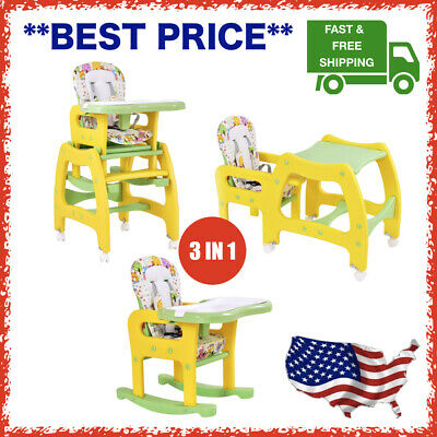 3 in 1 Convertible Play Table Seat Baby High Chair Booster Toddler Feeding Tray
