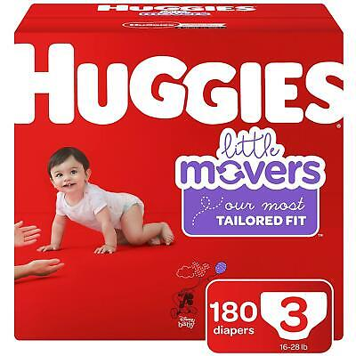 (180 Diapers) Size 3 Baby Diapers Huggies Little Movers 16-28 Lbs