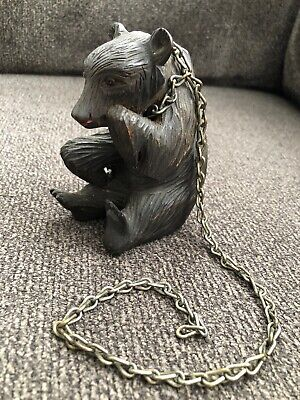 Vintage Captive Circus Bear Hand Carved Wood w/Glass Eyes & Chain BACK FOREST