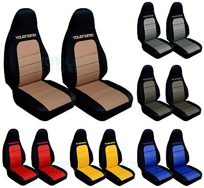 2001-2005 Mazda MX-5 Miata 2-Tone Bucket Seat Covers w Your Name/Text 21 Colors