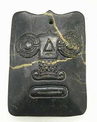 Hongshan culture Magnetic jade stone carved Person's face jade pendant AB2