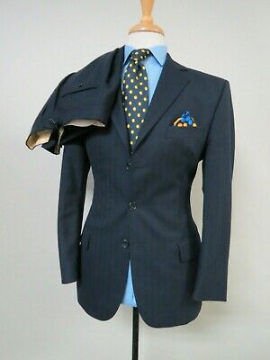 Hackett London Made in England Navy Blue Tonal stripe surgeon cuff suit 38 R