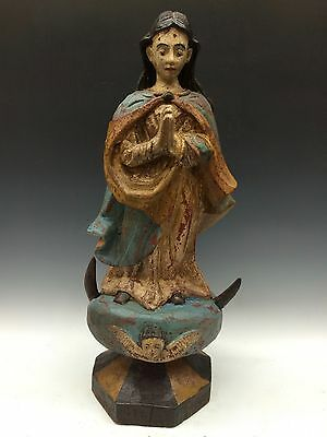 Carved Wood Antique Finished Blessed Virgin Mary