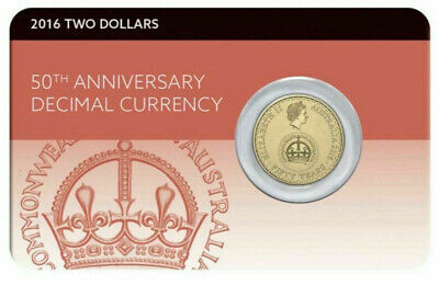 2016 $2 Dollar Coin - 50Th Anniversary Of Decimal Currency - Carded - Ram - Unc