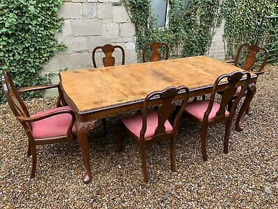Art Deco Burr walnut Dining table and 6 chairs Table Protect .Delivery Available