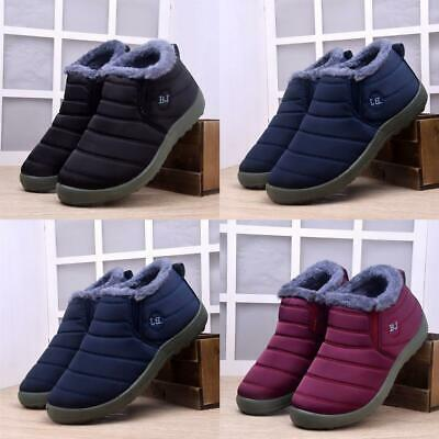 Women's Waterproof Fur Lining Ankle Boots Slip On Loafers Winter Warm Snow Shoes