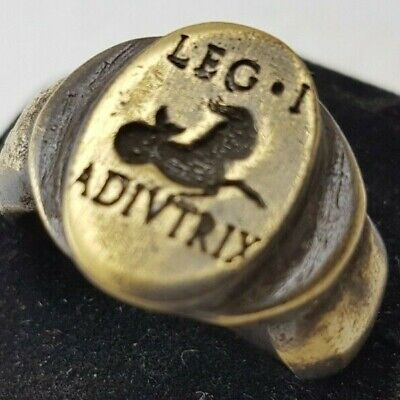 Ancient Bronze Legio I Adivtrix   Ring-Vintage-Antique ROMAN-BRONZE-RARE -