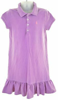 POLO RALPH LAUREN Girls Polo Dress 5-6 Years Purple Cotton  HS11